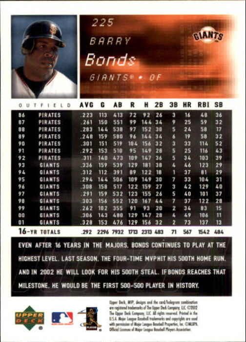 2002 Upper Deck MVP #225 Barry Bonds back image