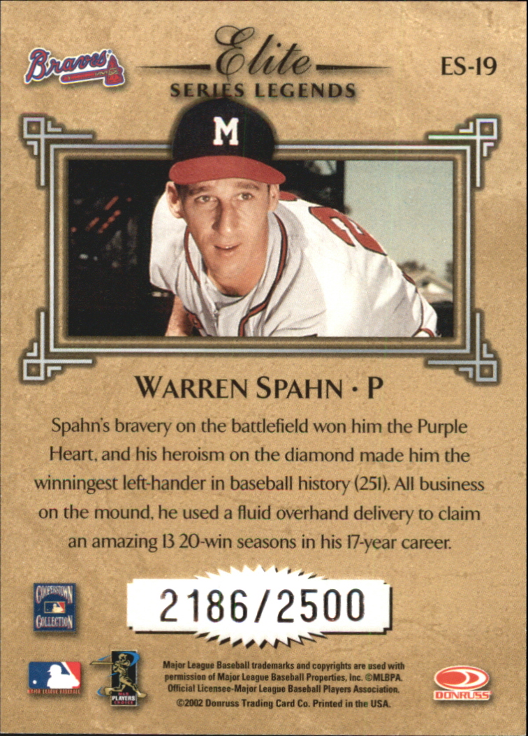 2002 Donruss Elite Series #19 Warren Spahn LGD back image