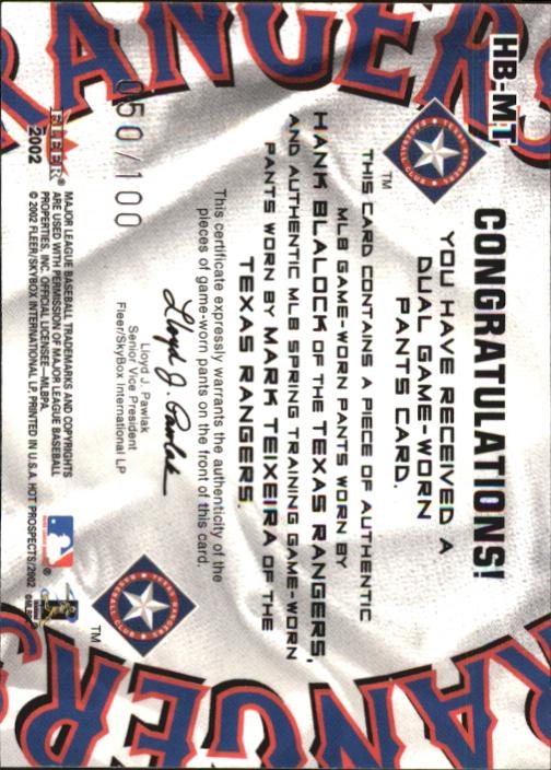 2002 Hot Prospects MLB Hot Tandems #HBMT Hank Blalock Pants/Mark Teixeira Pants back image