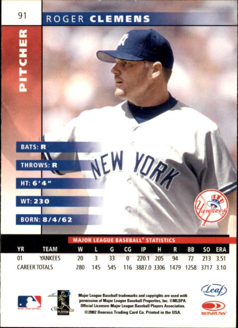 2002 Leaf #91 Roger Clemens back image