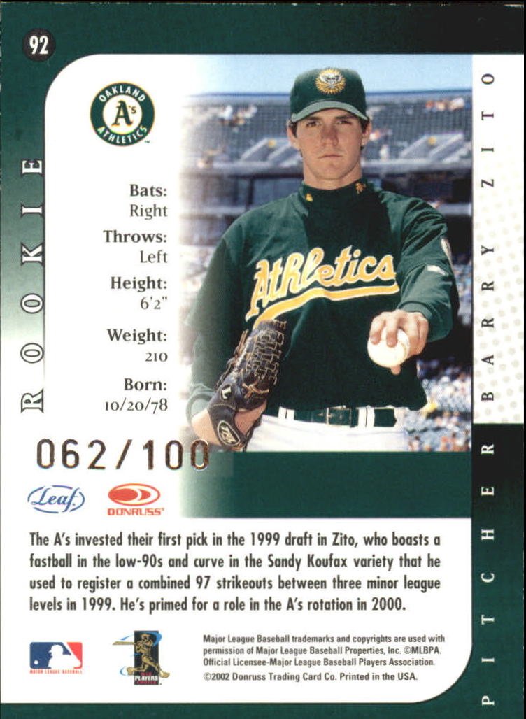 2002 Leaf Lineage Century #92 Barry Zito 00 back image