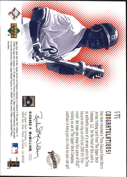 2002 Upper Deck 40-Man Super Swatch #STG Tony Gwynn back image
