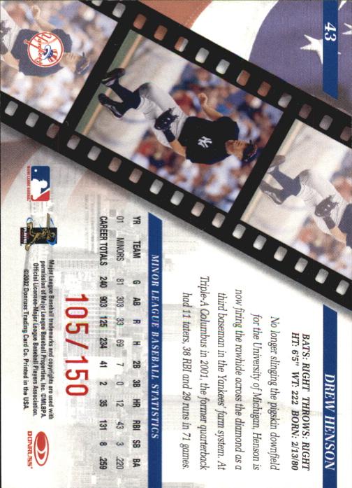 2002 Studio Private Signings #43 Drew Henson/150 back image