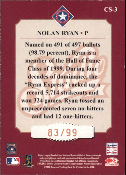 2002 Studio Classic #3 Nolan Ryan back image