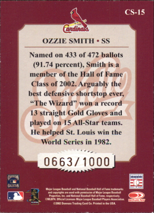 2002 Studio Classic #15 Ozzie Smith back image