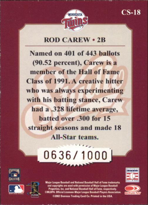 2002 Studio Classic #18 Rod Carew back image