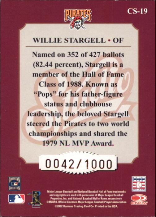 2002 Studio Classic #19 Willie Stargell back image