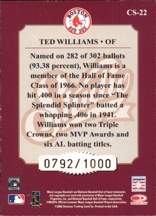 2002 Studio Classic #22 Ted Williams back image