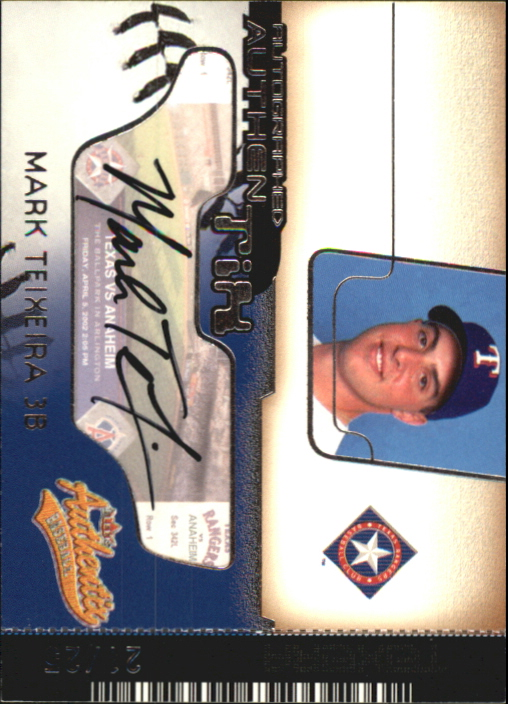 2002 Fleer Authentix Autograph AuthenTIX Unripped #AAMT Mark Teixeira