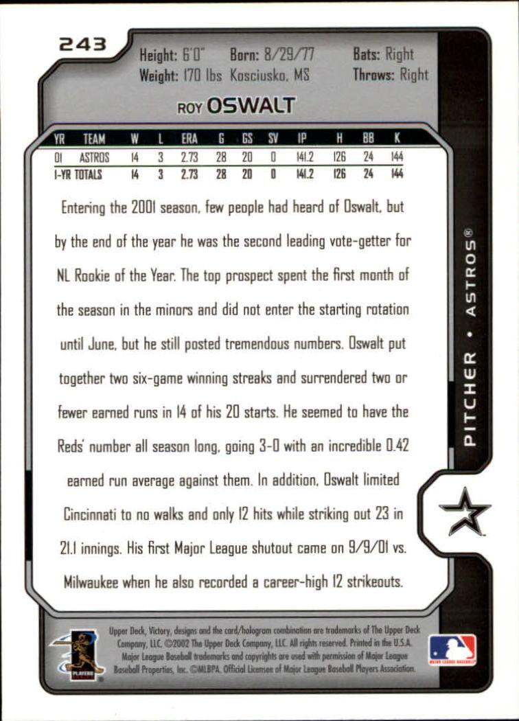 2002 Upper Deck Victory #243 Roy Oswalt back image
