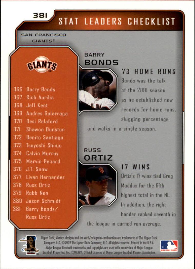 2002 Upper Deck Victory #381 B.Bonds/R.Ortiz back image