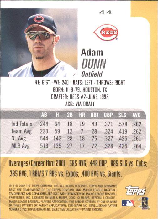 2002 Bowman's Best #44 Adam Dunn back image
