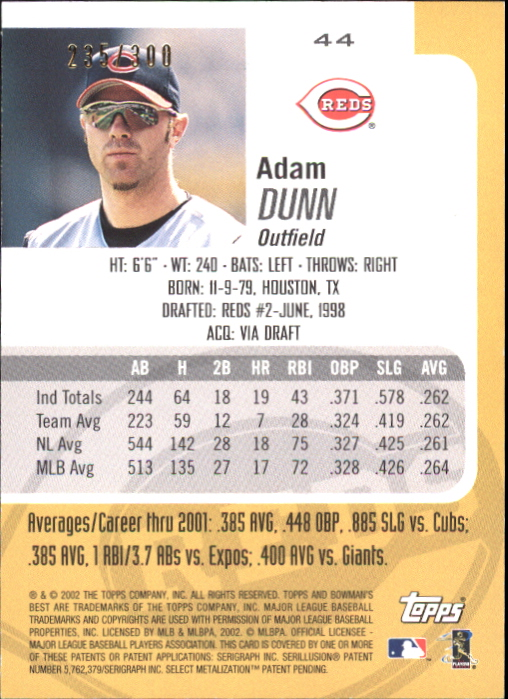 2002 Bowman's Best Blue #44 Adam Dunn back image