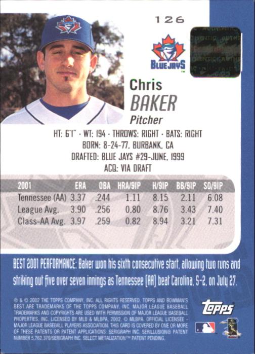 2002 Bowman's Best Blue #126 Chris Baker AU back image