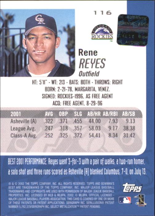 2002 Bowman's Best Red #116 Rene Reyes AU back image