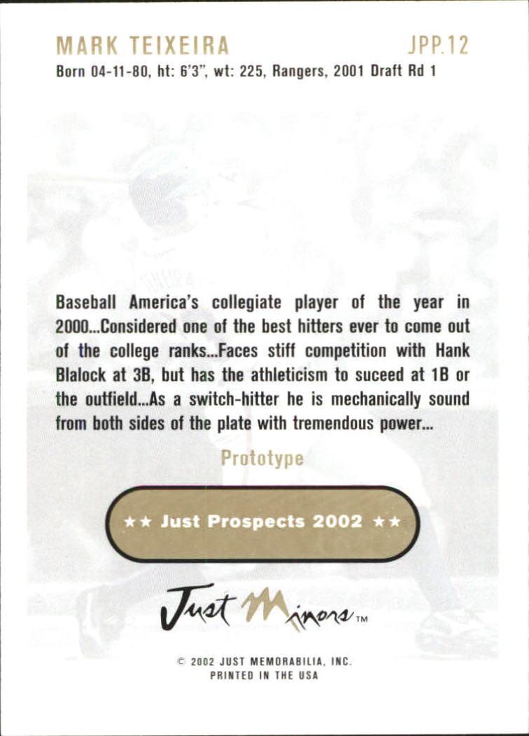 2002 Just Prospects Prototypes #12 Mark Teixeira back image