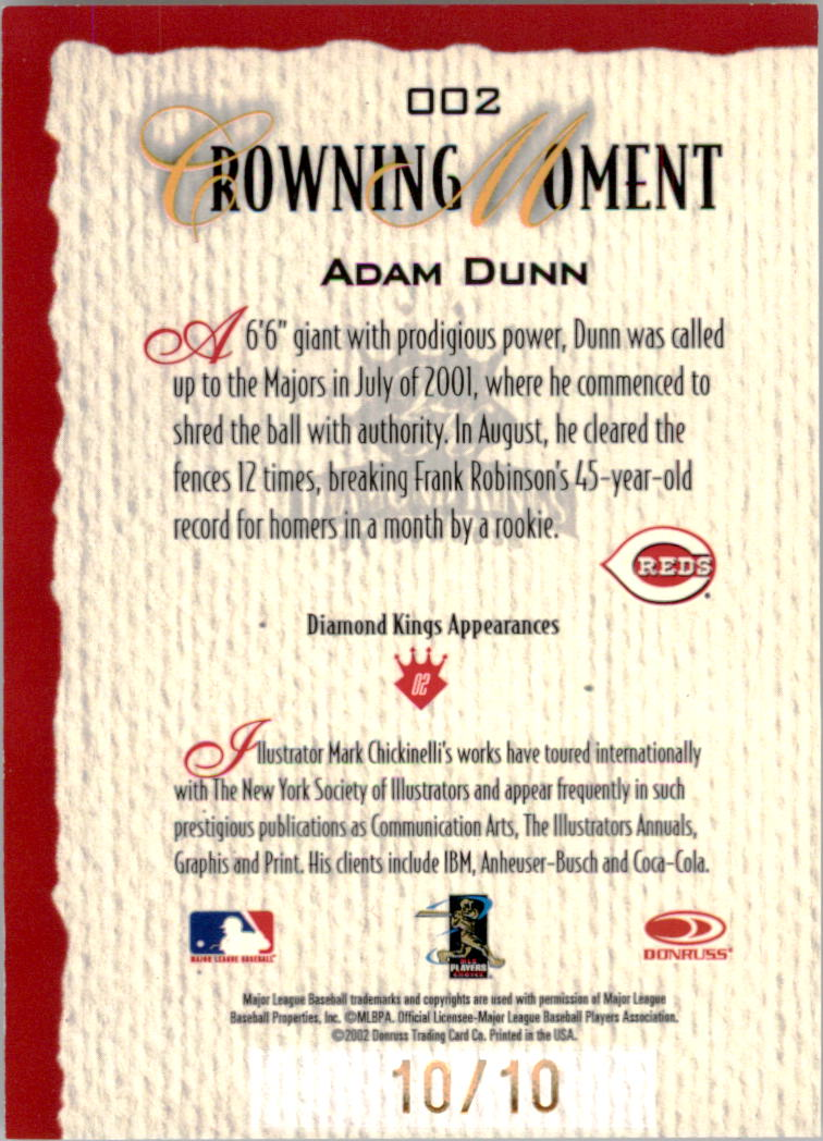 2002 Diamond Kings Hawaii Parallel 20 #2 Adam Dunn back image
