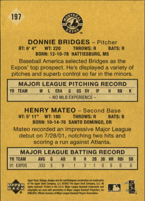 2002 Upper Deck Vintage #197 D.Bridges/H.Mateo back image