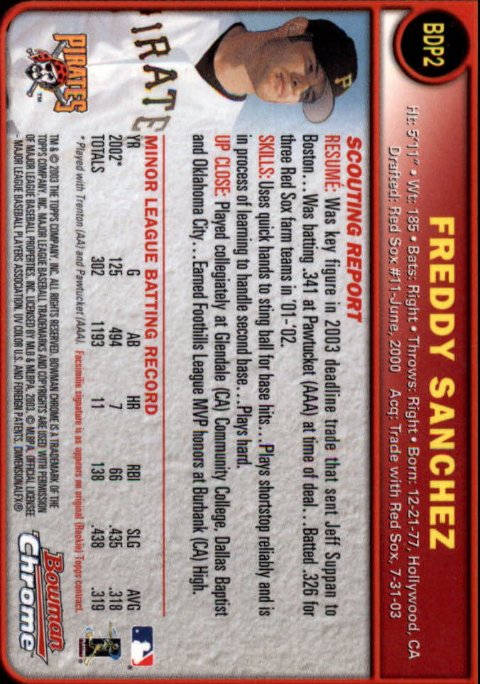 2003 Bowman Chrome Draft #2 Freddy Sanchez back image