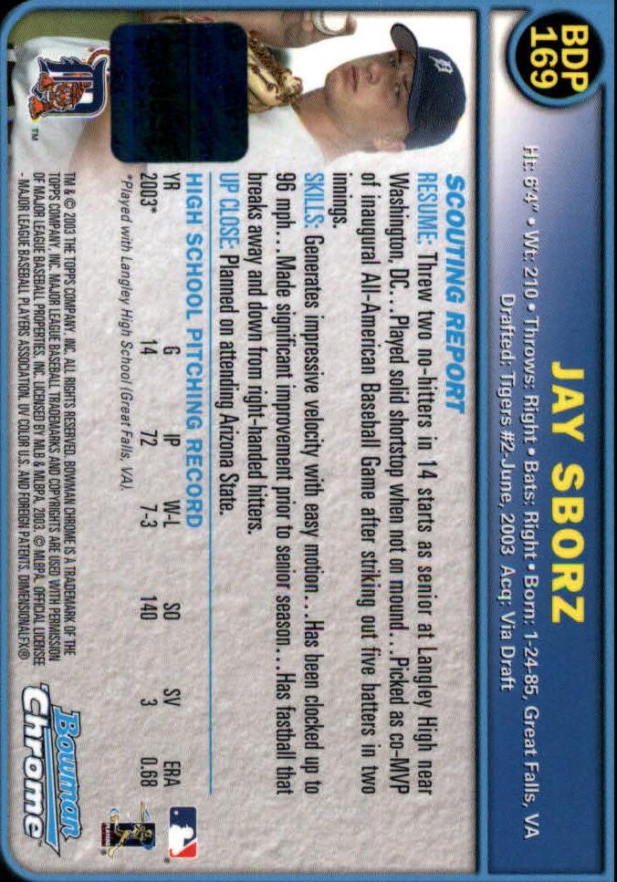 2003 Bowman Chrome Draft #169 Jay Sborz AU RC back image