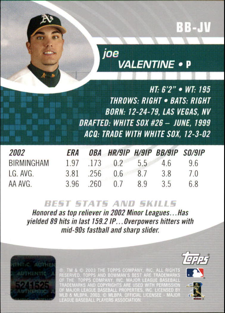 2003 Bowman's Best #JV Joe Valentine FY AU RC back image