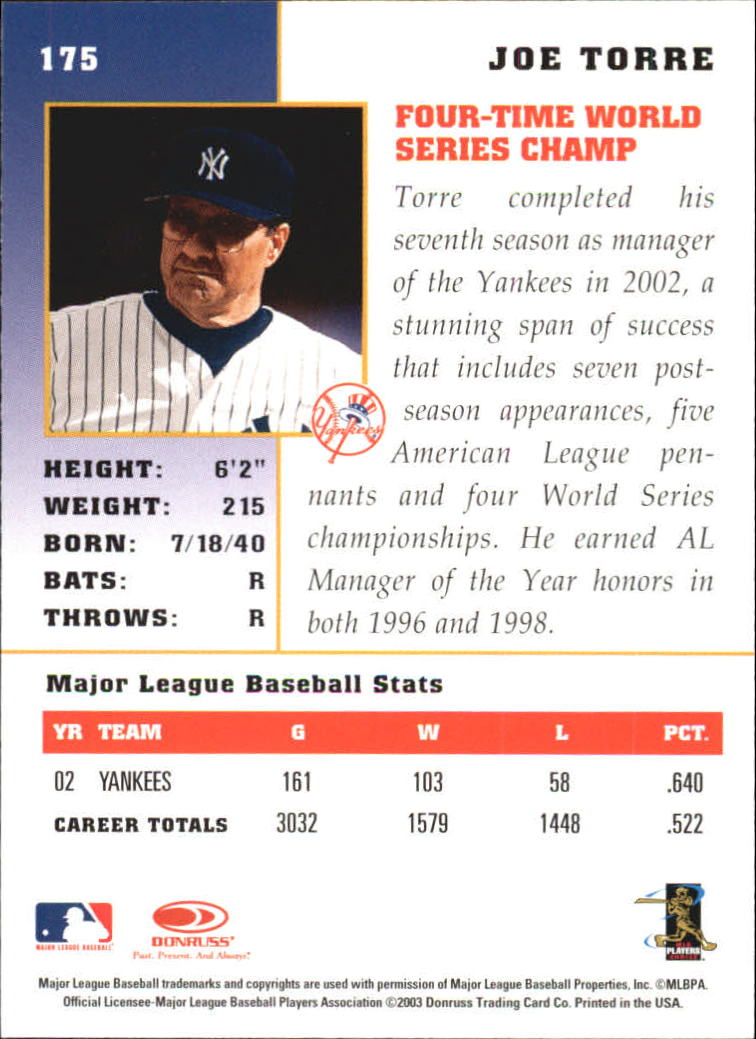 2003 Donruss Champions #175 Joe Torre MG back image