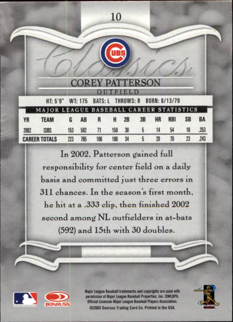 2003 Donruss Classics #10 Corey Patterson back image
