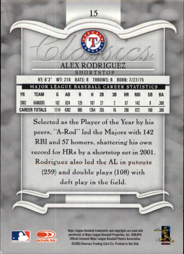 2003 Donruss Classics #15 Alex Rodriguez back image