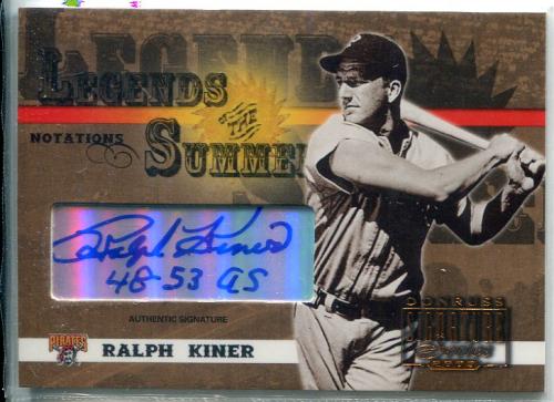 2003 Donruss Signature Legends of Summer Autographs Notations #29B Ralph Kiner 48-53 AS/25