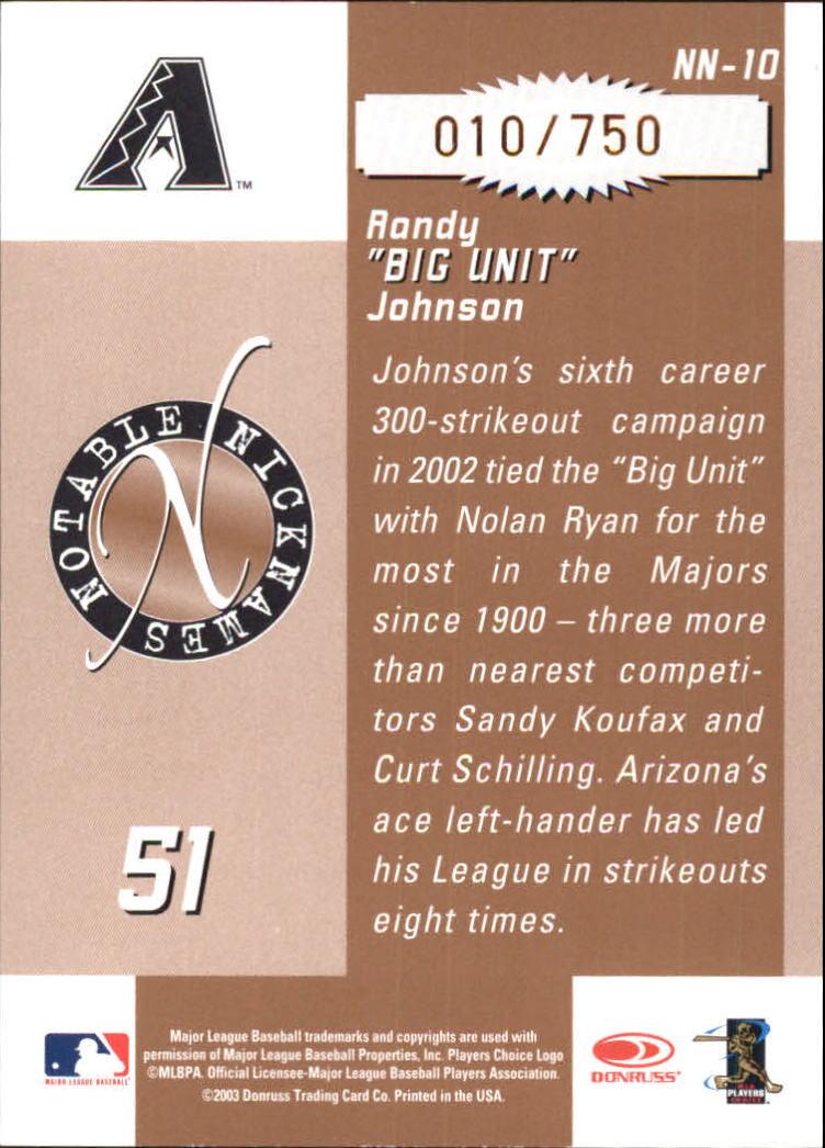2003 Donruss Signature Notable Nicknames #10 Randy Johnson back image