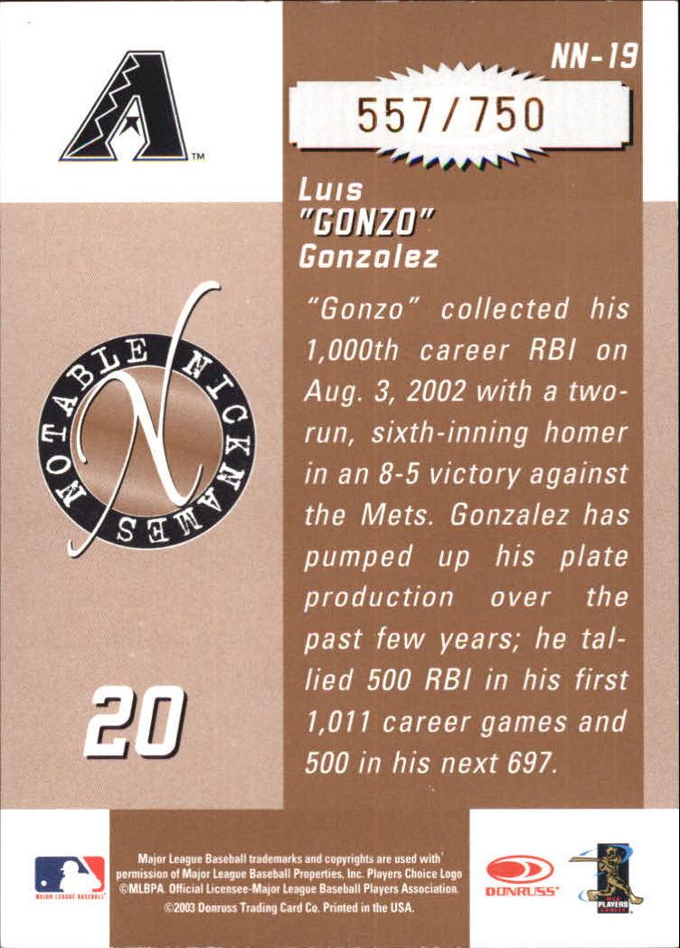 2003 Donruss Signature Notable Nicknames #19 Luis Gonzalez back image