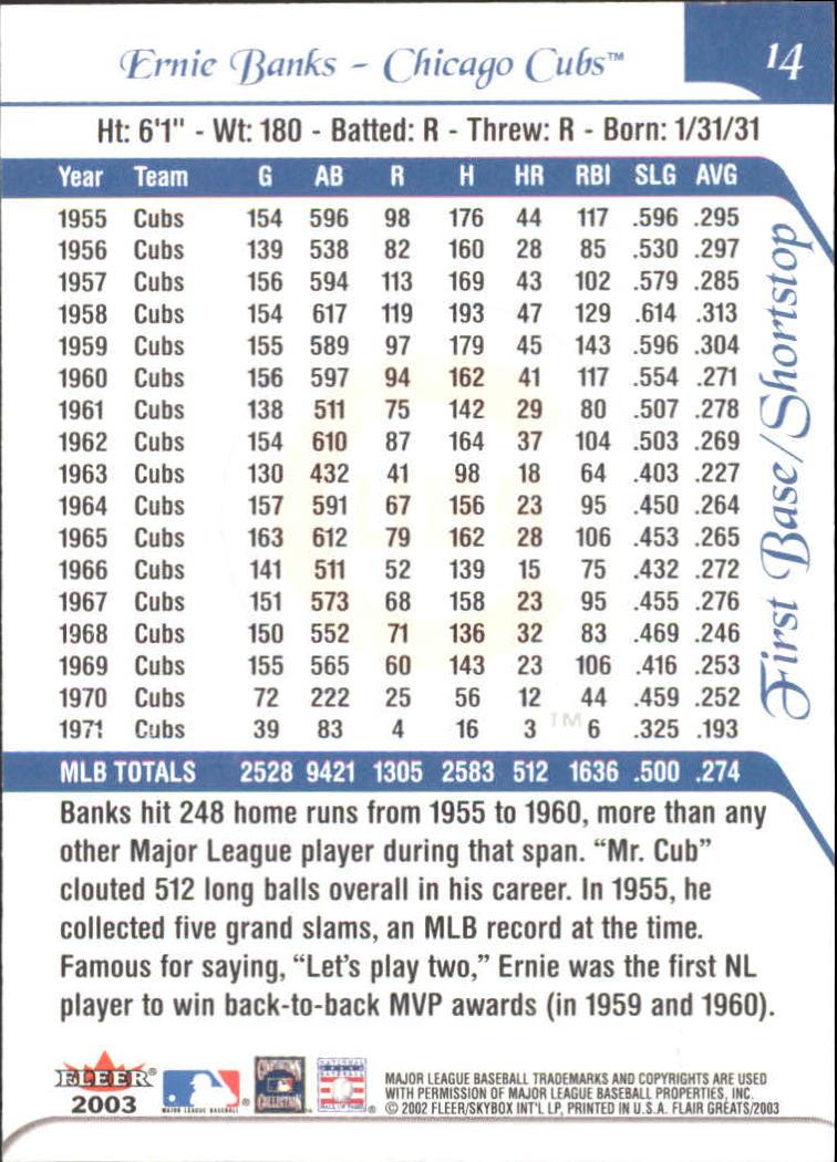 2003 Flair Greats #14 Ernie Banks back image