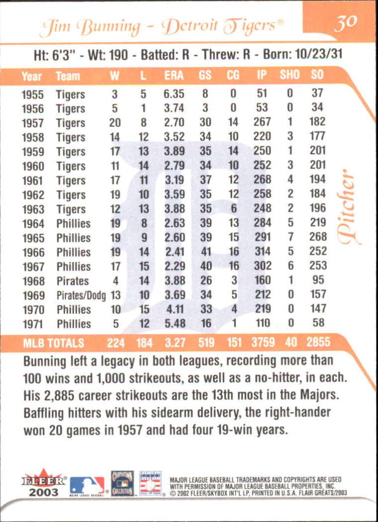 2003 Flair Greats #30 Jim Bunning back image