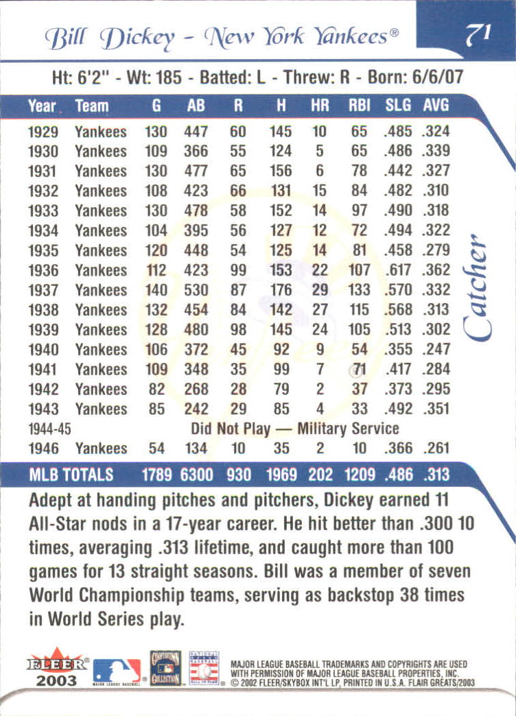 2003 Flair Greats #71 Bill Dickey back image