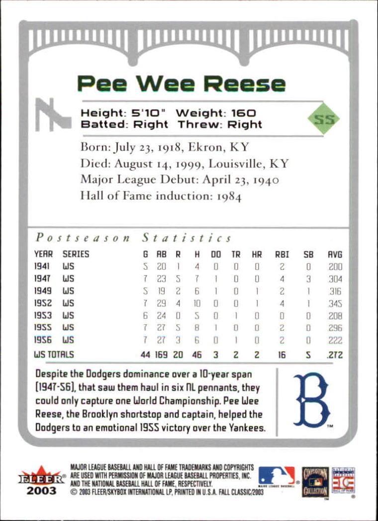 2003 Fleer Fall Classics #7 Pee Wee Reese back image
