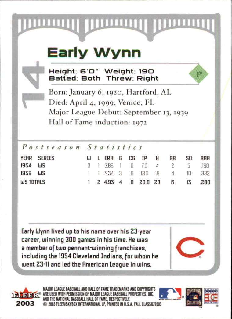 2003 Fleer Fall Classics #14 Early Wynn back image