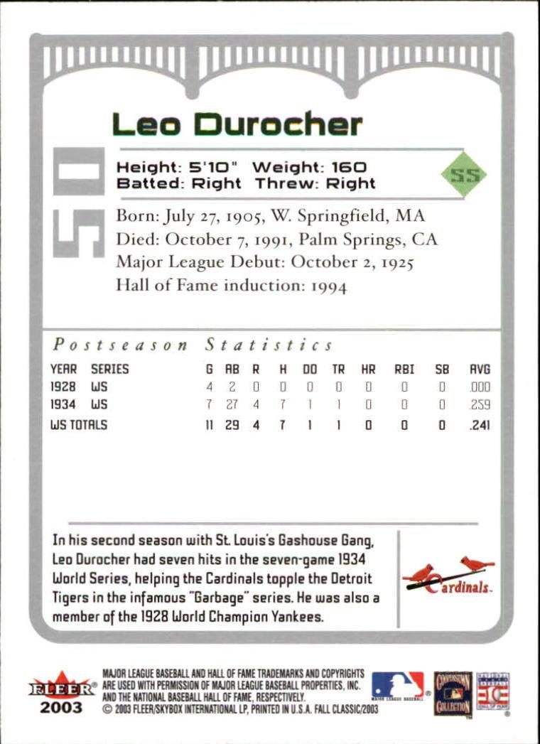 2003 Fleer Fall Classics #50A Leo Durocher Cards back image