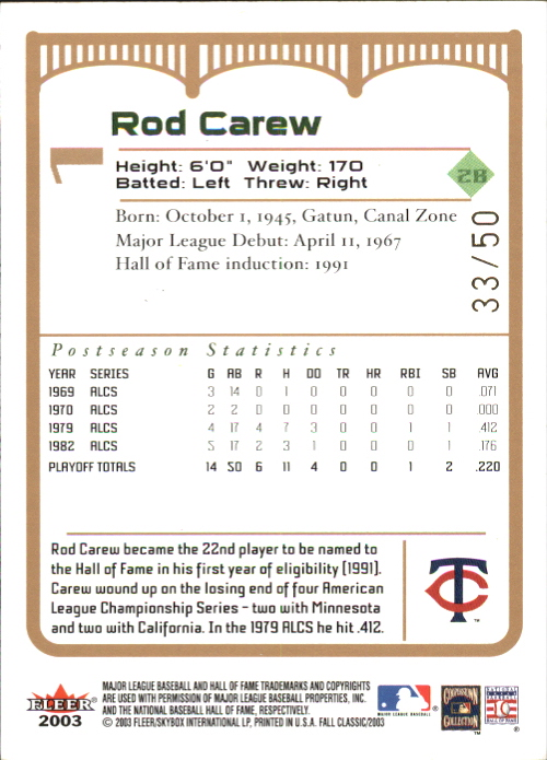2003 Fleer Fall Classics Championship Gold #1 Rod Carew back image