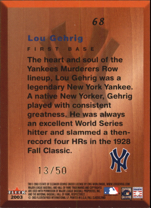 2003 Fleer Fall Classics Championship Gold #68 Lou Gehrig DF back image