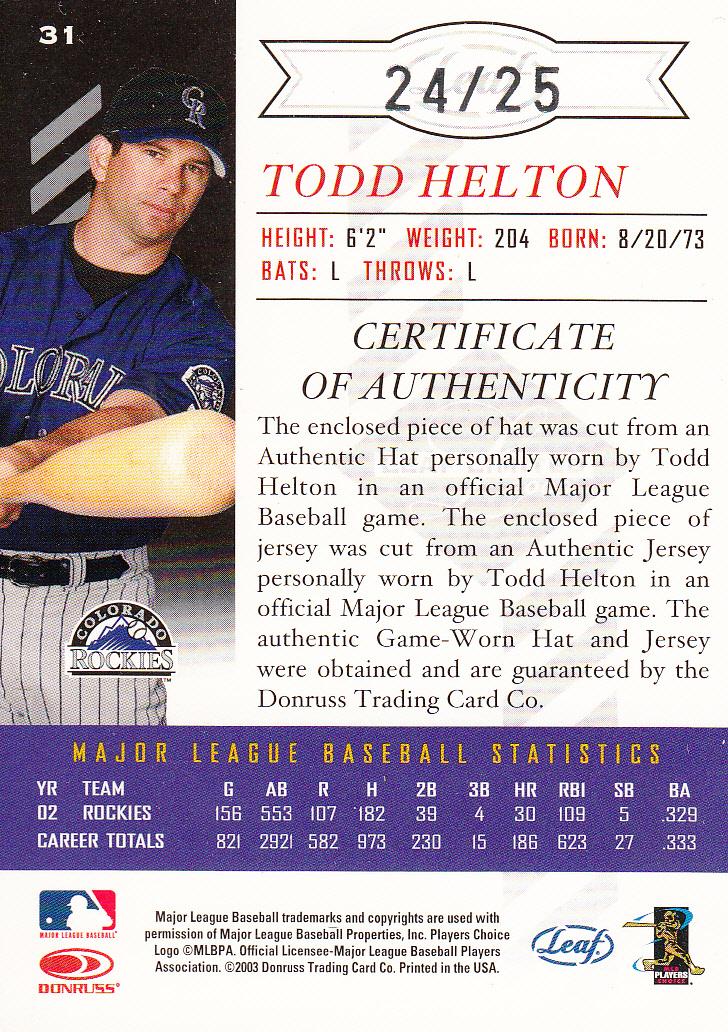 2003 Leaf Limited Threads Double #31 Todd Helton H Hat-Jsy/25 back image