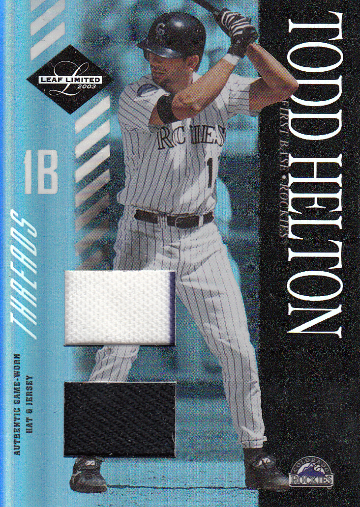 2003 Leaf Limited Threads Double #31 Todd Helton H Hat-Jsy/25