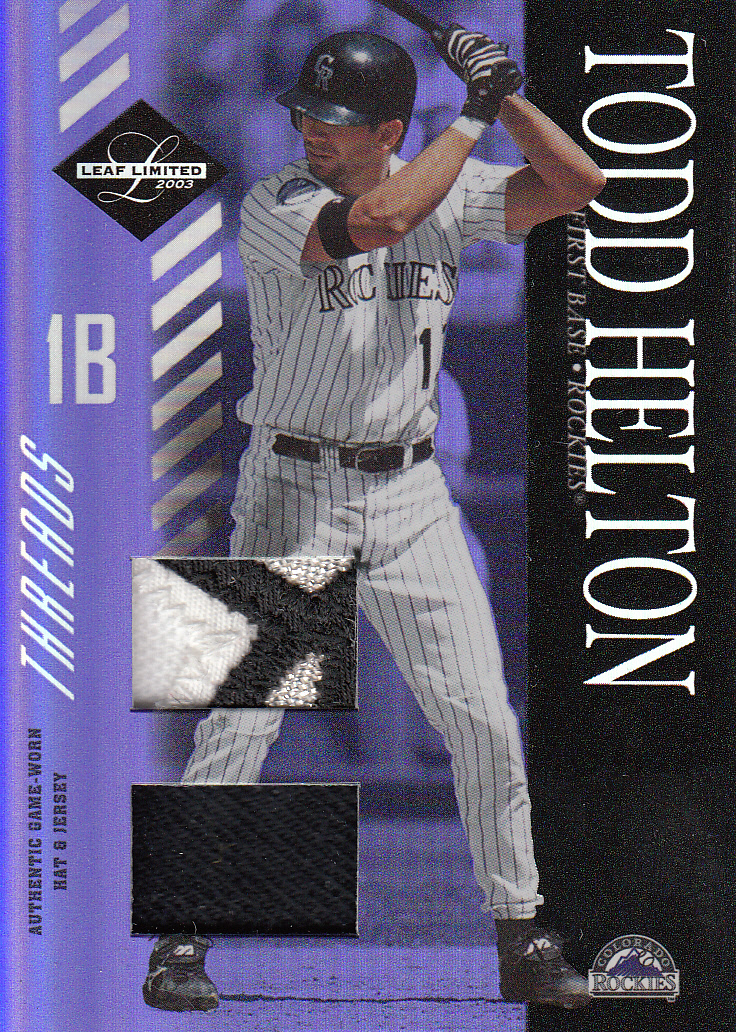 2003 Leaf Limited Threads Double Prime #31 Todd Helton H Hat-Jsy/10