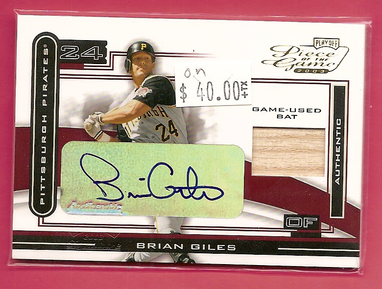 2003 Playoff Piece of the Game Autographs #18A Brian Giles Bat/30