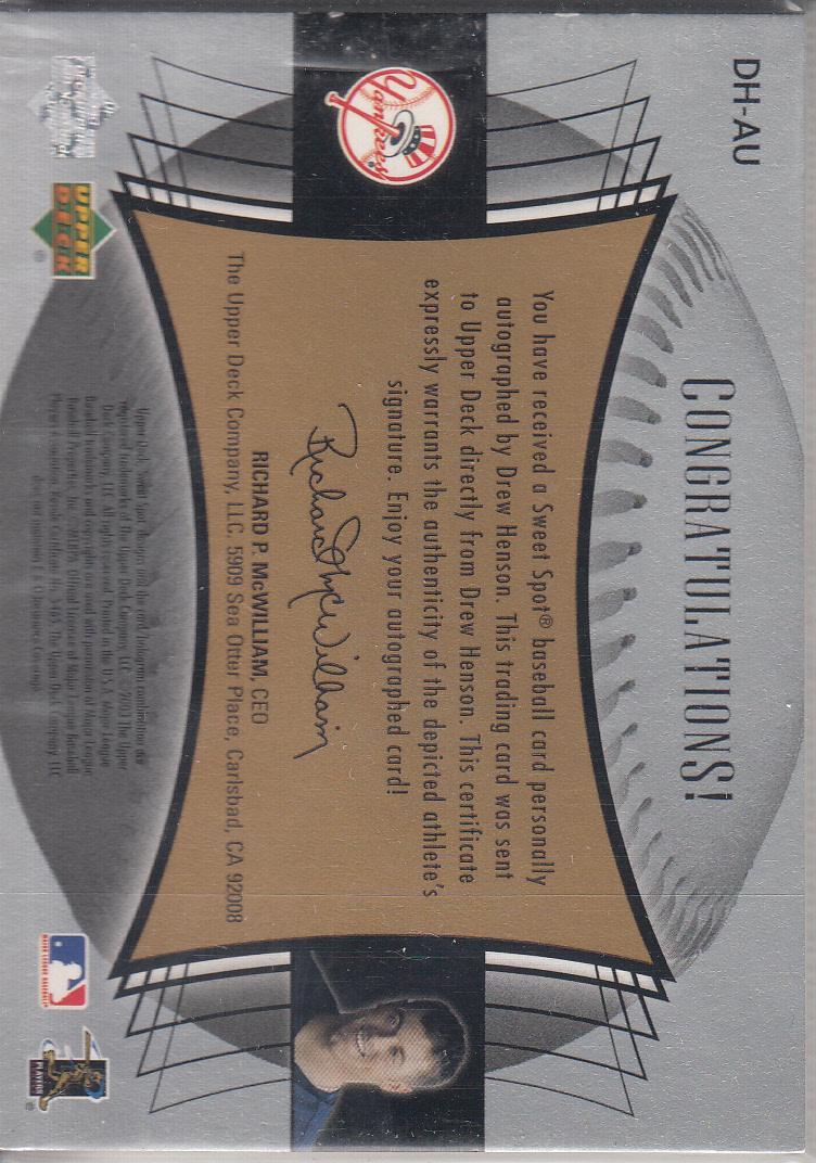 2003 Sweet Spot Signatures Black Ink Holo-Foil #DHAU Drew Henson back image