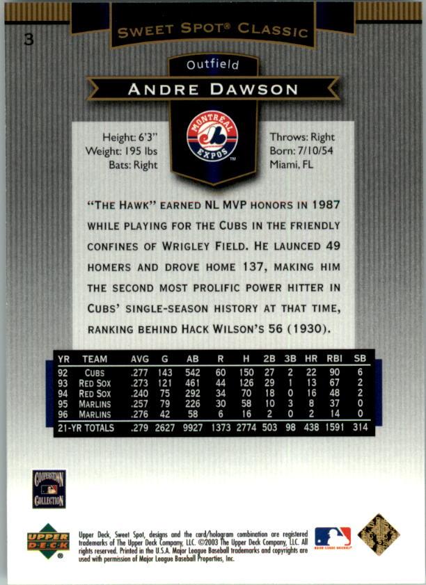 2003 Sweet Spot Classics #3 Andre Dawson back image