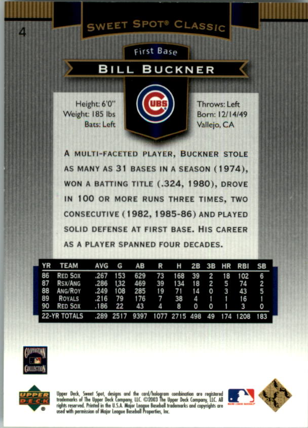 2003 Sweet Spot Classics #4 Bill Buckner back image