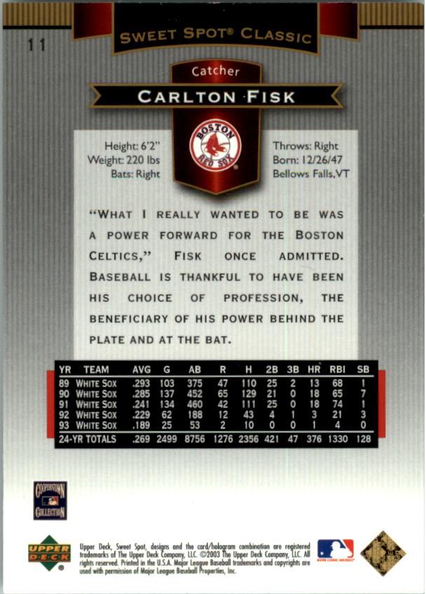 2003 Sweet Spot Classics #11 Carlton Fisk back image