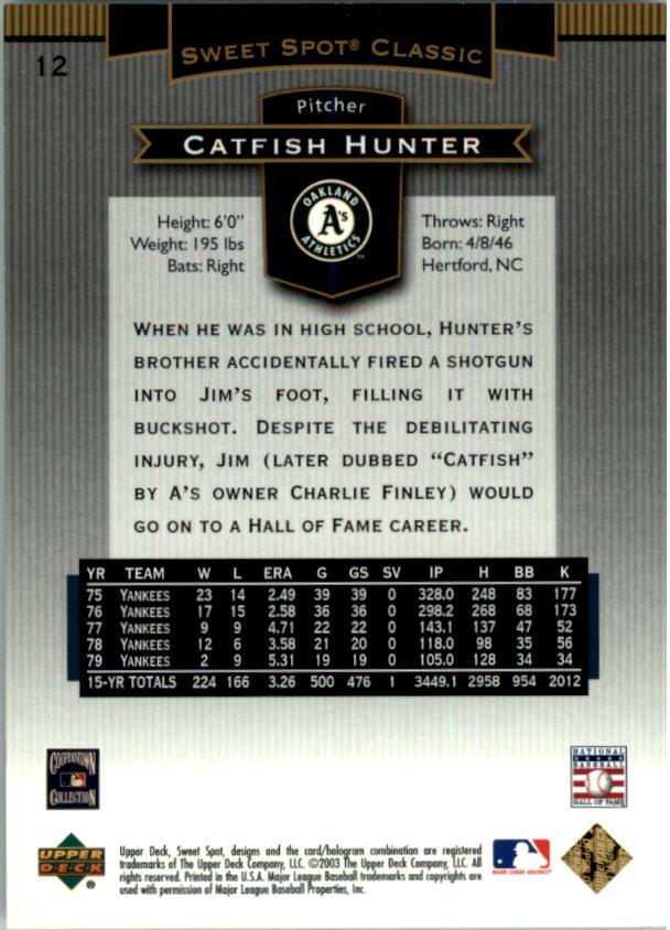 2003 Sweet Spot Classics #12 Catfish Hunter back image