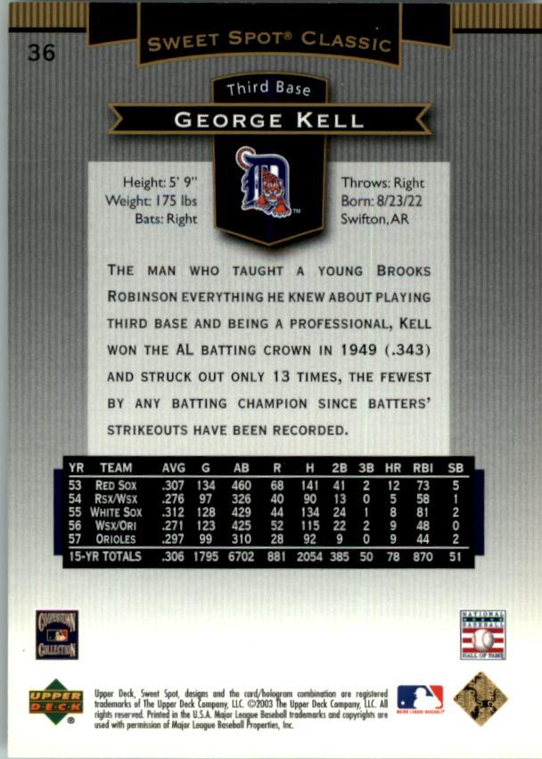 2003 Sweet Spot Classics #36 George Kell back image