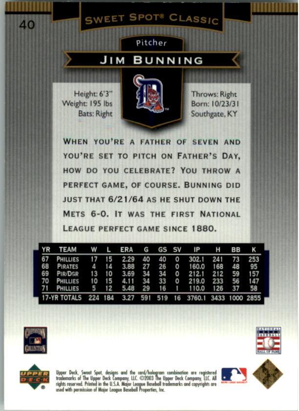 2003 Sweet Spot Classics #40 Jim Bunning back image